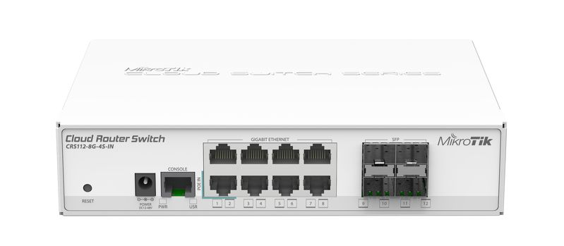 CRS112-8G-4S-IN 8x Gigabit Ethernet Smart Switch, 4x SFP cages, 400MHz CPU, 128MB RAM, desktop case, RouterOS L5