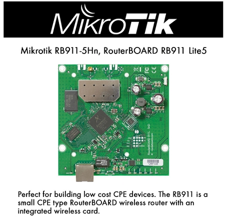 Mikrotik RB911 Lite5, RB911-5Hn small CPE type RouterBOARD, 600Mhz, 64MB, 1 x 10/100, onboard 5Ghz single chain wireless, OSL3 WISP CPE level 3 license, wireless router with an integrated 5Ghz single chain wireless card